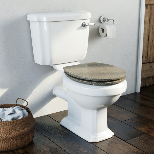 The Bath Co. Dulwich close coupled toilet with soft close wooden toilet seat grey oak effect