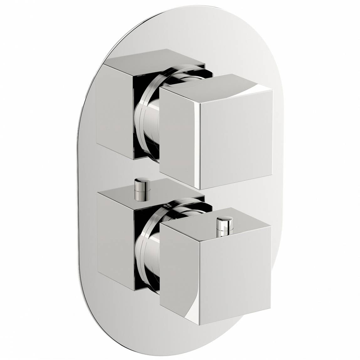 Mode Cubik oval twin thermostatic shower valve with diverter