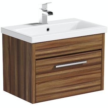 Smart walnut wall hung drawer unit 600mm & inset basin