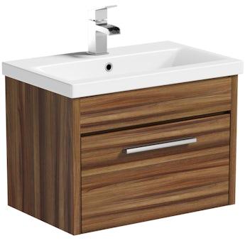 Clarity walnut wall hung drawer unit 600mm