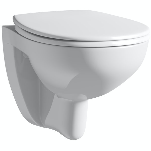 Grohe Bau wall hung toilet with soft close seat and wall mounting frame and Nova flush plate