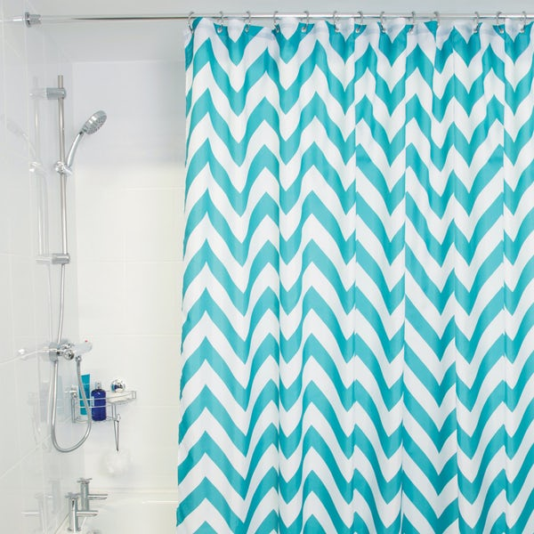 Croydex aqua chevron textile shower curtain
