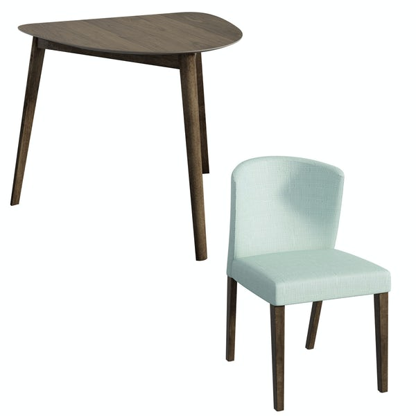 Ernest walnut apartment table with 2 x Hudson light cyan dining chairs
