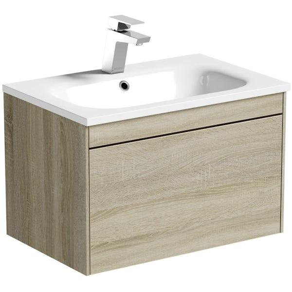Mode Austin oak wall hung vanity unit and stone basin 600mm