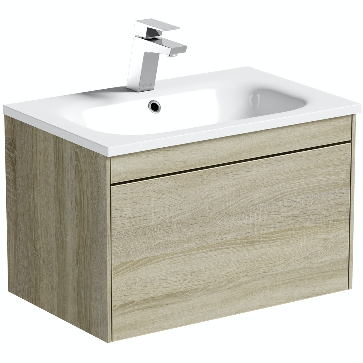 Mode Austin oak wall hung vanity unit and stone basin 600mm