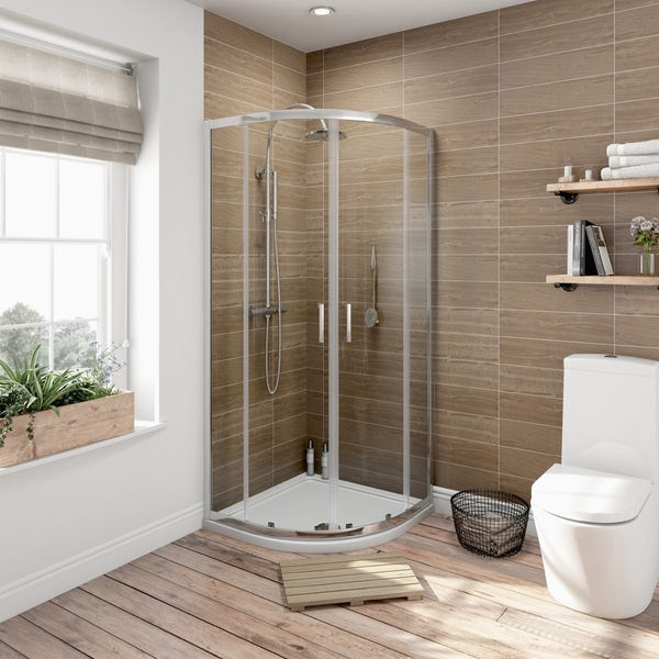 Eden suite with sliding quadrant shower enclosure and tray