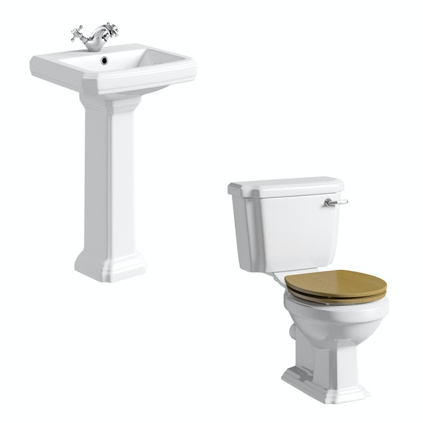 Dulwich toilet suite with oak effect seat and full pedestal basin 500mm