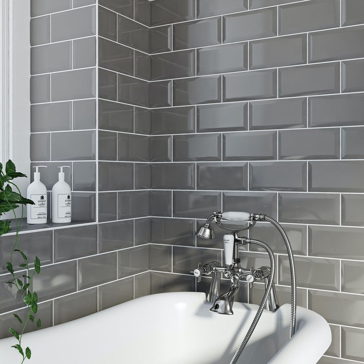 Free Delivery British Ceramic Tile Metro Bevel Grey Gloss 100mm X 200mm