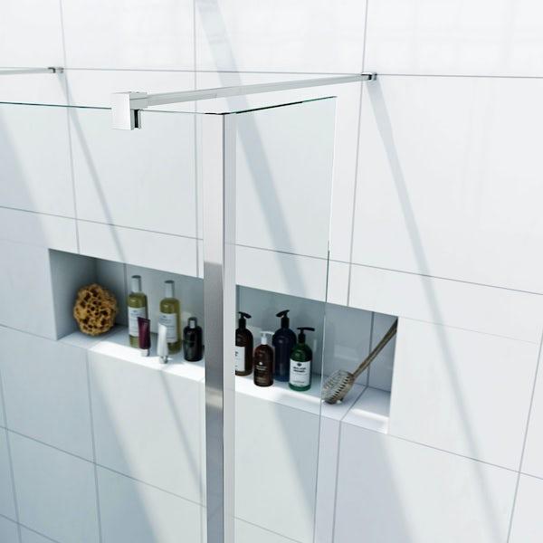 Luxury 8mm wet room glass panel with return panel