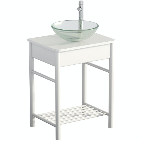 Mode South Bank white washstand with Mackintosh basin, tap and waste