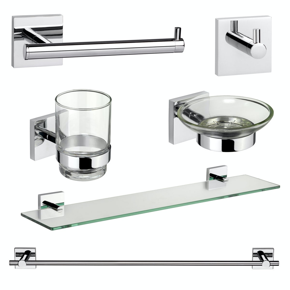 Croydex Chester square master bathroom 6 piece accessory set