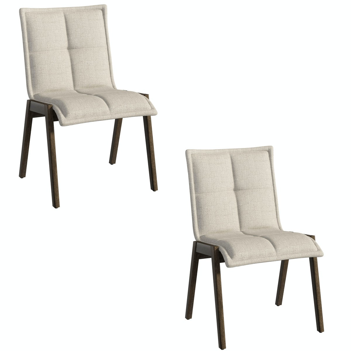 Hadley Walnut and Beige Pair of Dining Chairs
