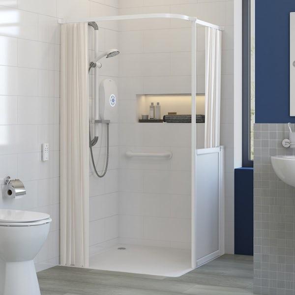 AKW L shaped shower curtain rail 1500 x 1200