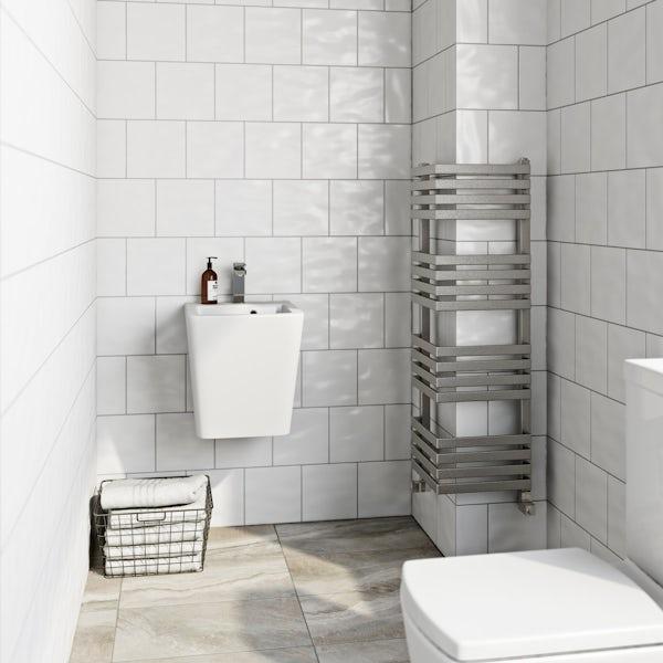 Terma Outcorner chrome effect heated towel rail 1005 x 300