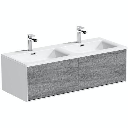 Mode Burton ice stone wall hung double basin vanity unit 1200mm