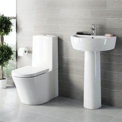 Arc close coupled toilet and full pedestal basin suite 550mm