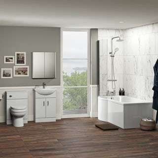 Orchard Eden complete left handed shower bath suite with taps, shower and wastes