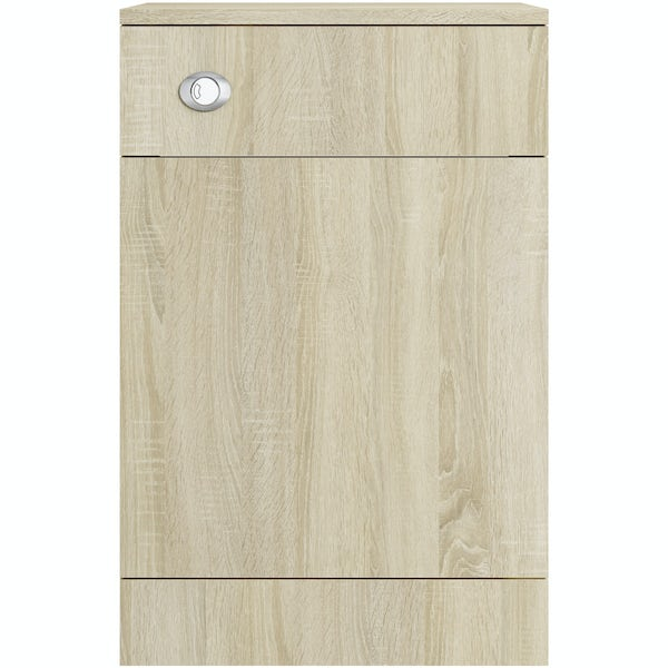 Eden oak back to wall unit with Energy toilet