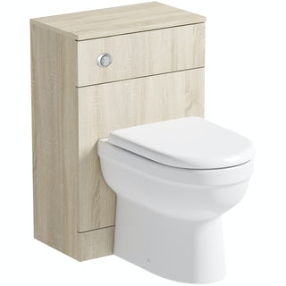 Orchard Wye oak back to wall unit with contemporary toilet and seat