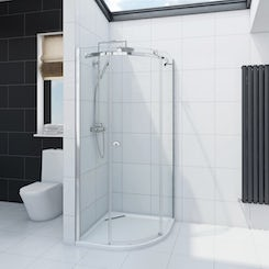 Infiniti 8mm single sliding door quadrant shower enclosure 800 x 800 offer pack