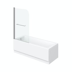 Kensington straight shower bath 1500mm with 6mm shower screen and rail