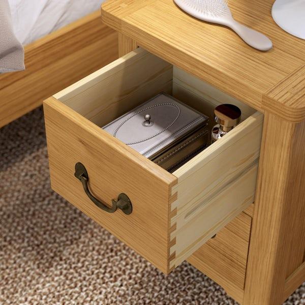 Rome Reclaimed Pine 2 Drawer Bedside
