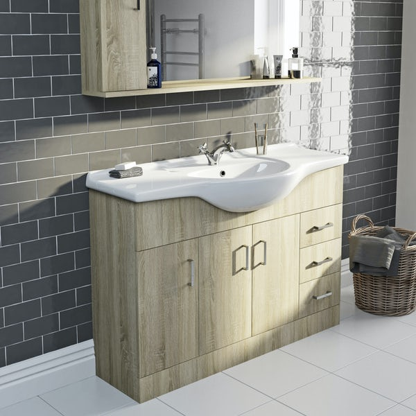 Eden oak vanity unit and basin 1200mm