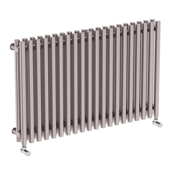 Tune matt nickel double horizontal radiator 600 x 990