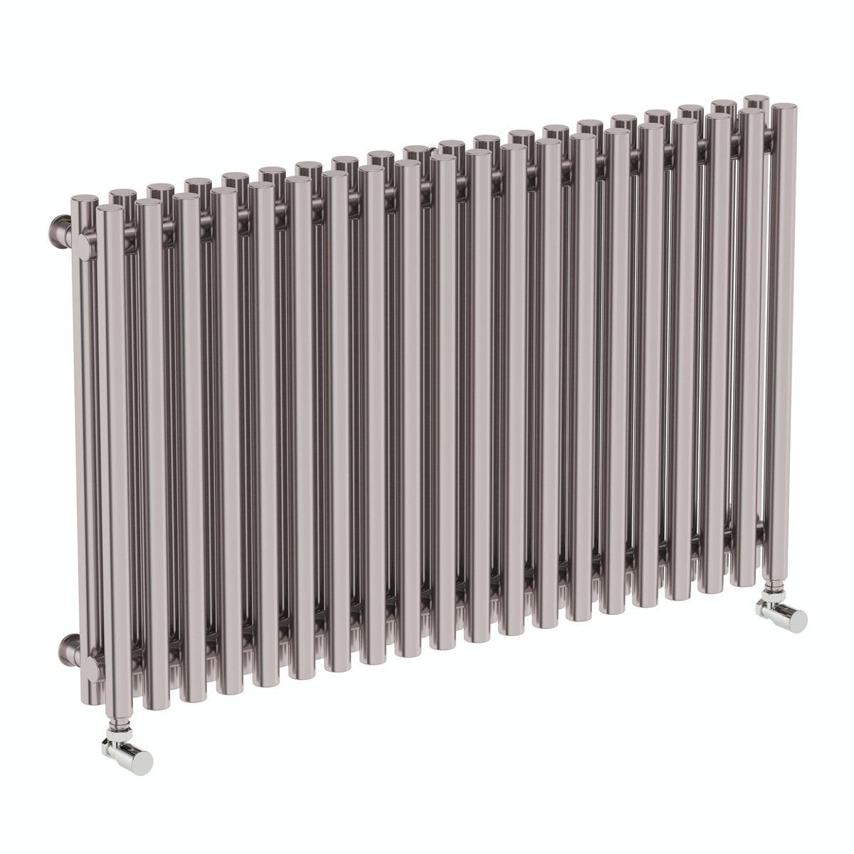 Terma Tune matt nickel double horizontal radiator 600 x 990