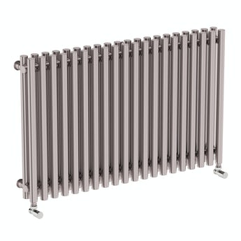 Terma Tune matt nickel double horizontal radiator 600 x 990