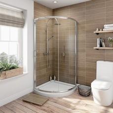 Image of 6mm Bow Quadrant Sliding Shower Enclosure 900 & Tray