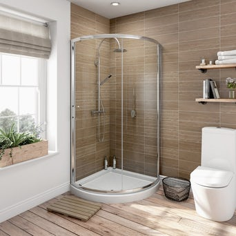 6mm Bow Quadrant Shower Enclosure 900 with Shower Tray