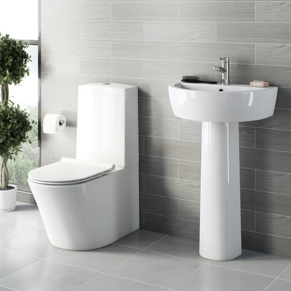 Mode Tate slimline close coupled toilet and full pedestal basin suite