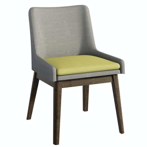 Ernest walnut table with 2x Lincoln grey/green chairs