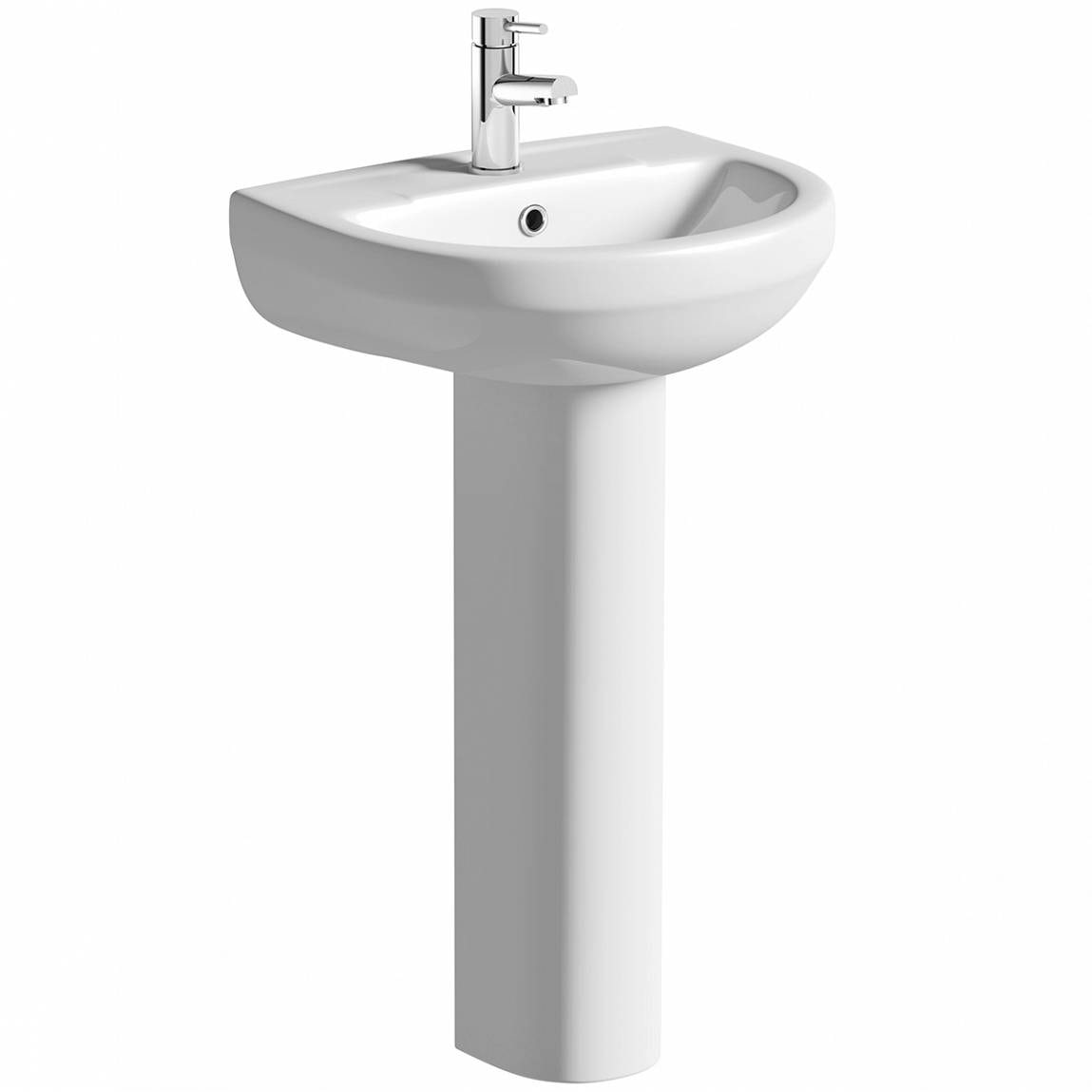 Eden 1 tap hole full pedestal basin with waste
