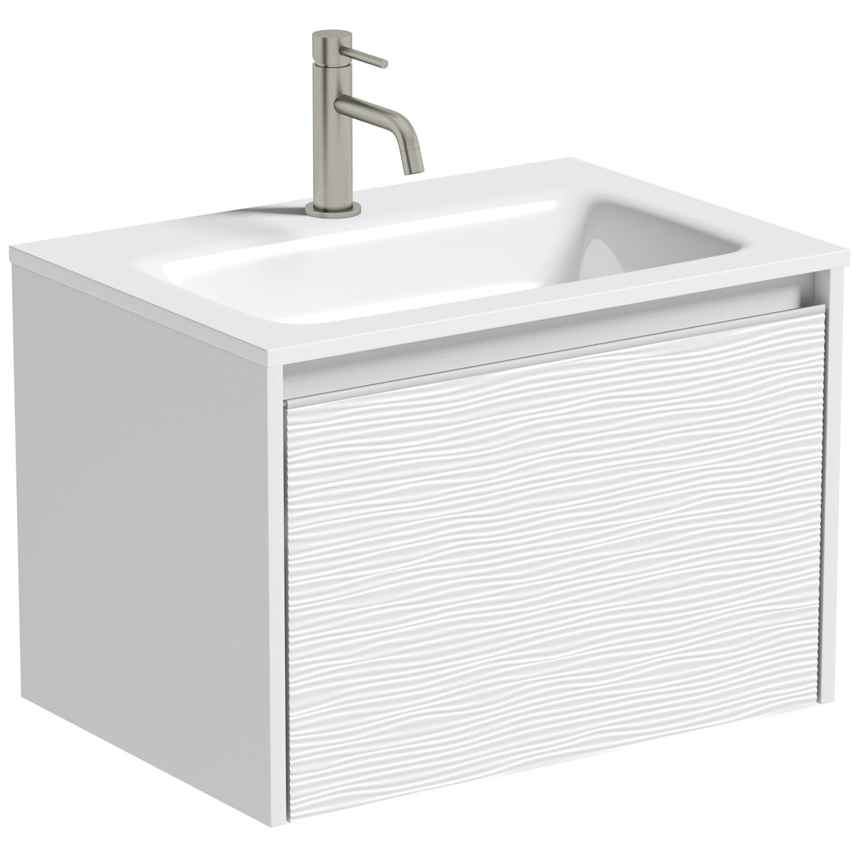 Mode Banks textured matt white wall hung vanity unit and basin 600mm