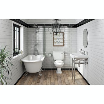 The Bath Co. Dulwich white bathroom suite with freestanding shower bath