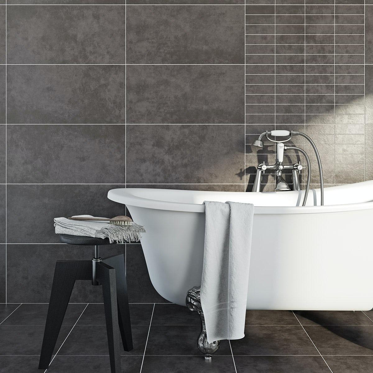 British Ceramic Tile Canvas line charcoal matt tile 298mm x 598mm