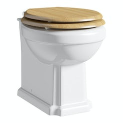 Winchester back to wall toilet with oak effect MDF soft close seat