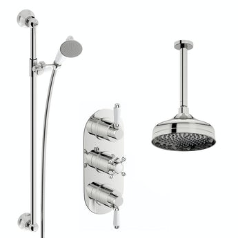 The Bath Co. Camberley thermostatic shower valve with ceiling shower and sliding rail set