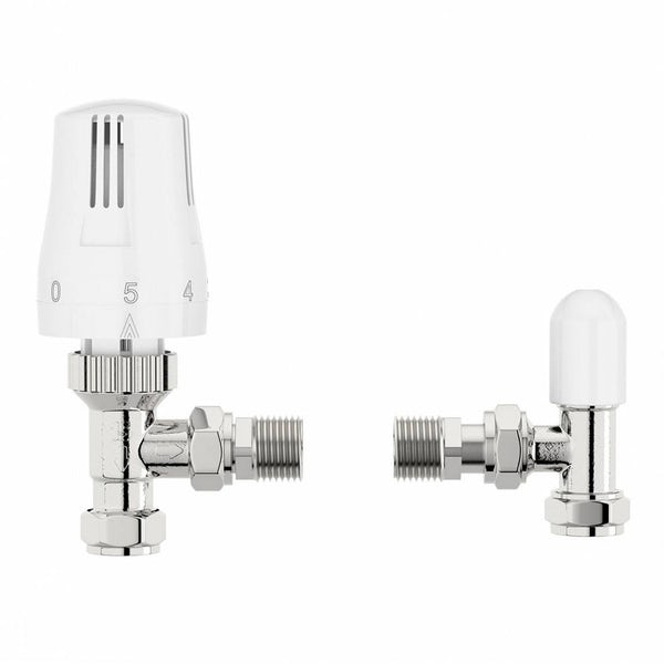 5 pairs of Orchard thermostatic white angled radiator valves