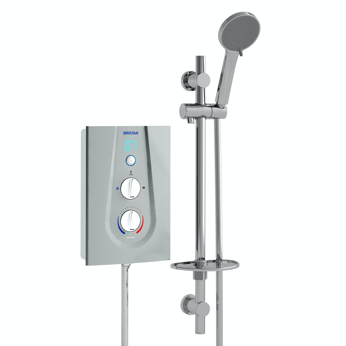Bristan Joy 9.5kw thermostatic electric shower metallic silver