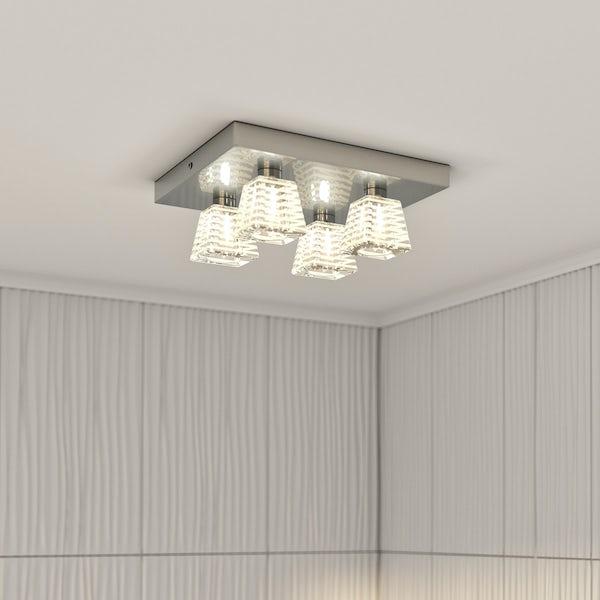 Inti striped 4 light bathroom ceiling light