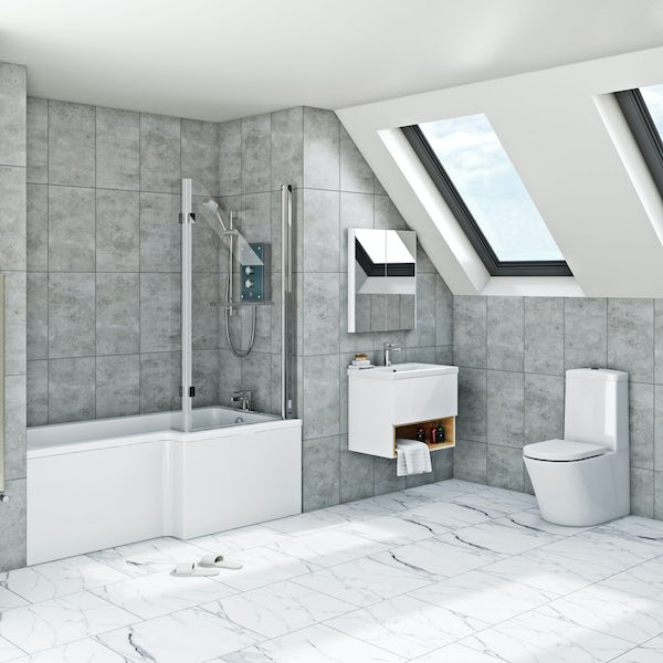 Mira and Mode Tate complete right handed shower bath and furniture suite 1500 x 850