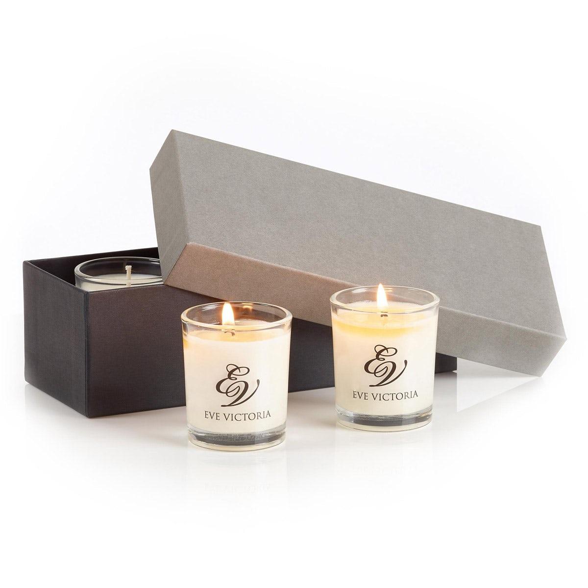 Eve Victoria Oud & bergamot 3 Votive gift box 9cl
