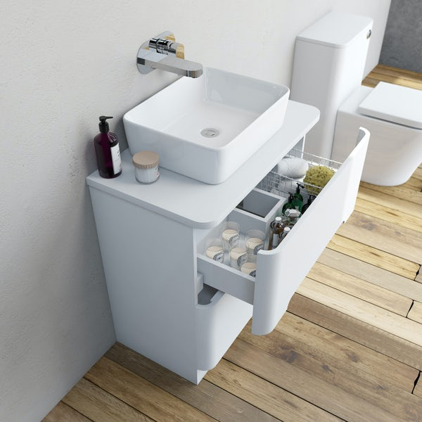 Mode Ellis white vanity drawer unit and countertop 800mm