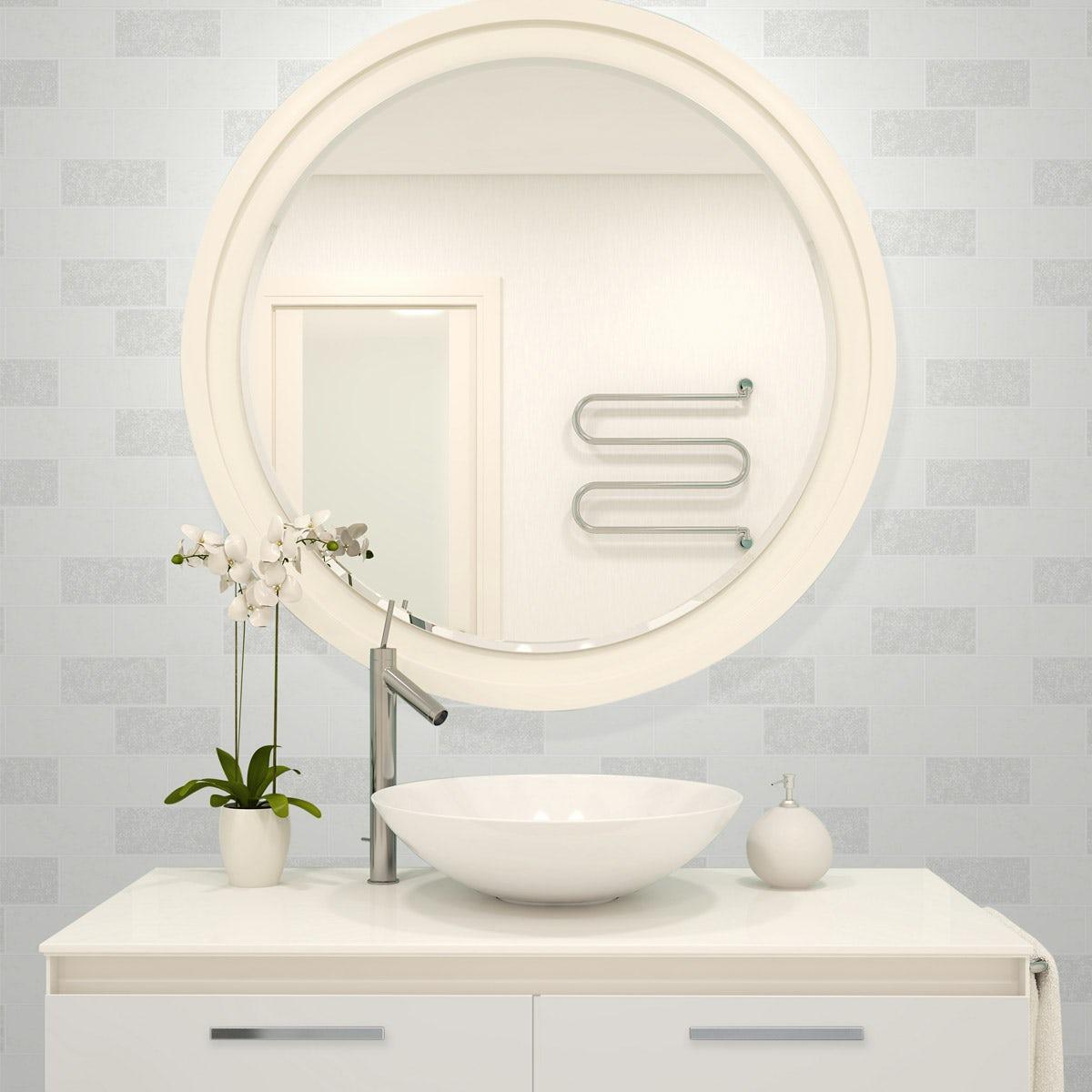 Ceramica Subway Glitter Tile - White
