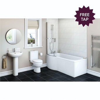 Energy Bathroom Suite with Evesham 1700 x 850 Shower Bath LH
