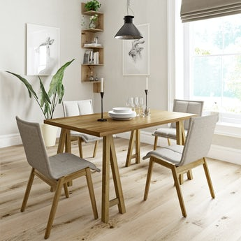 Hudson oak trestle table with 4 x Hadley beige dining chairs