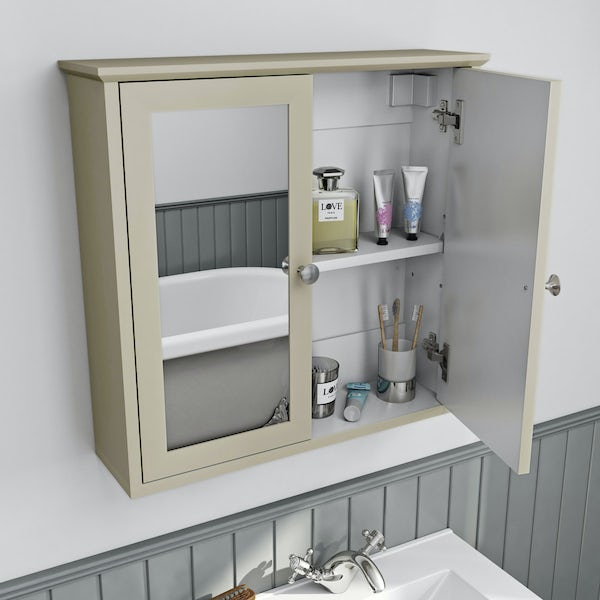 The Bath Co. Camberley satin ivory wall mounted mirror cabinet